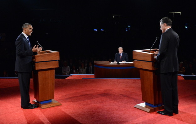 In third debate, Mitt Romney stumbled over answers and frequently parted with his previously stated policies