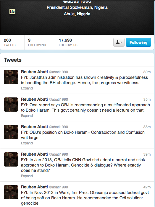 Abati's tweets on Obasanjo