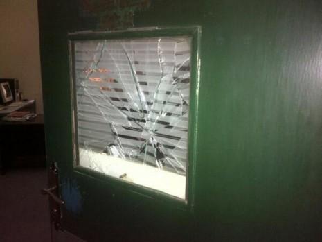 Vandalised window during the attack on Thursday... Photo: Yakubu Gana