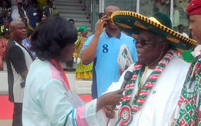 FILE PHOTO: Bode George being interviewed at recent PDP convention .... Photo Credit: Chima Onwe