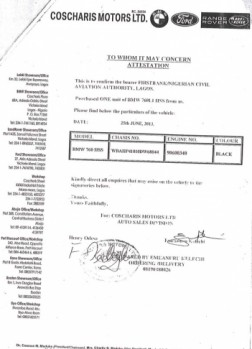 """NCAA BMW Page 05 252x349 - Aviation officials claim N255 million ministerial car scandal is """"all rumours"""""""