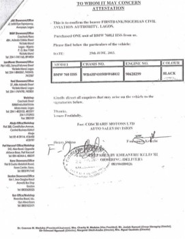 """NCAA BMW Page 09 271x349 - Aviation officials claim N255 million ministerial car scandal is """"all rumours"""""""