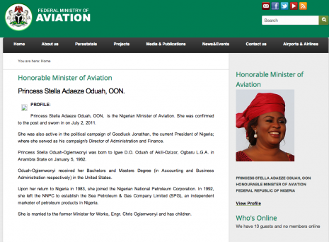 Stella Oduah's new bio without a university