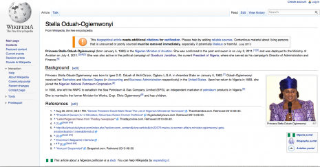 Stella Oduah's new Wikipedia page without a university