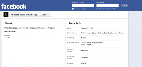 Stella Oduah's Facebook Page after the revision