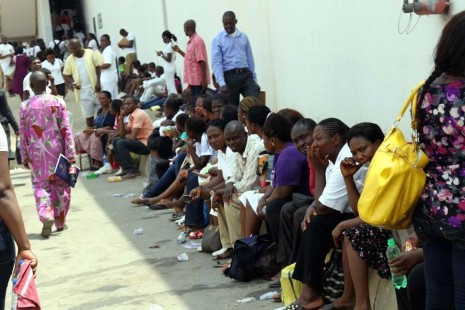Applicants waiting for the recruitment screening test