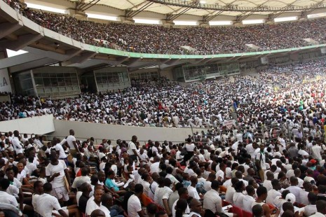 Section of the crowd at the Abuja stadium for the immigration recruitment test