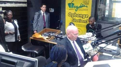 American ambassador Mr. James F. Entwistle in the Studio, Wazobia FM, Lagos State.
