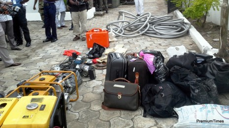 some items seized from the suspected oil thieves