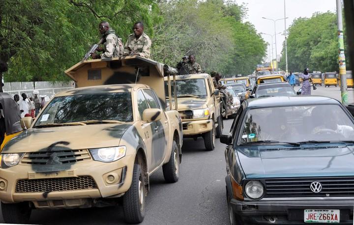 Nigerian soldiers on patrol in Maiduguri