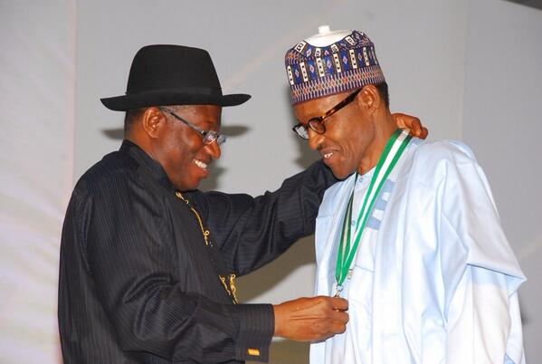 Goodluck Jonathan and Muhammad Buhari during the recent Centenary celebration