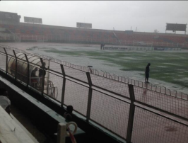 Bayelsa vs Heartland: Ball wouldn't bounce on this turf after heavy downpour.... Photo Credit: League Management Company