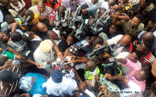 Aregbesola addressing journalist on election day