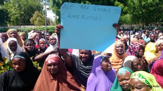 Gwoza protesters at teh Government house Maiduguri