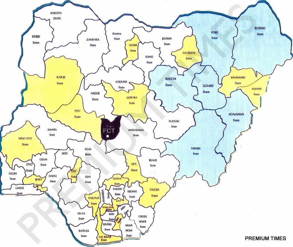 New Map of Nigeria as proposed by the National Conference