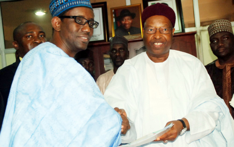 Peoples Democratic Party,(PDP) Aspirant  Malam Nuhu Ribadu,Submitting his Nomination form, For Gubernatorial Primary Election 2014 to National Organizing Secretary, of PDP,Alhaji Abubakar Mustapha at the National Headquarters of the party in Abuja