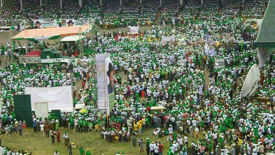 "FILE PHOTO: TAN's maiden rally in Awka mobilizing ""Nigerians Demand..."" for Goodluck Jonathan to declare for 2015 Presidency... Photo Credit: Tranformation Ambassador of Nigeria"