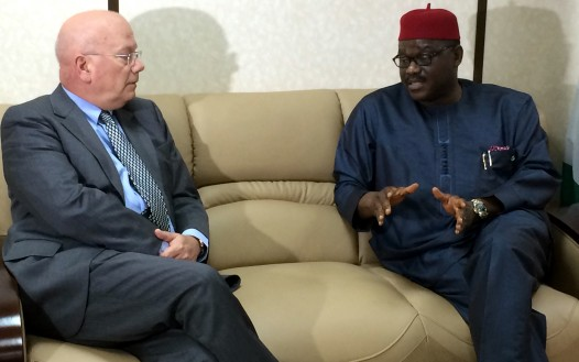The Minister of Health Prof. Onyebuchi Chukwu in an audience with the US Ambassador to Nigeria, Mr. James Entwistle during a visit in the minister's office in Abuja