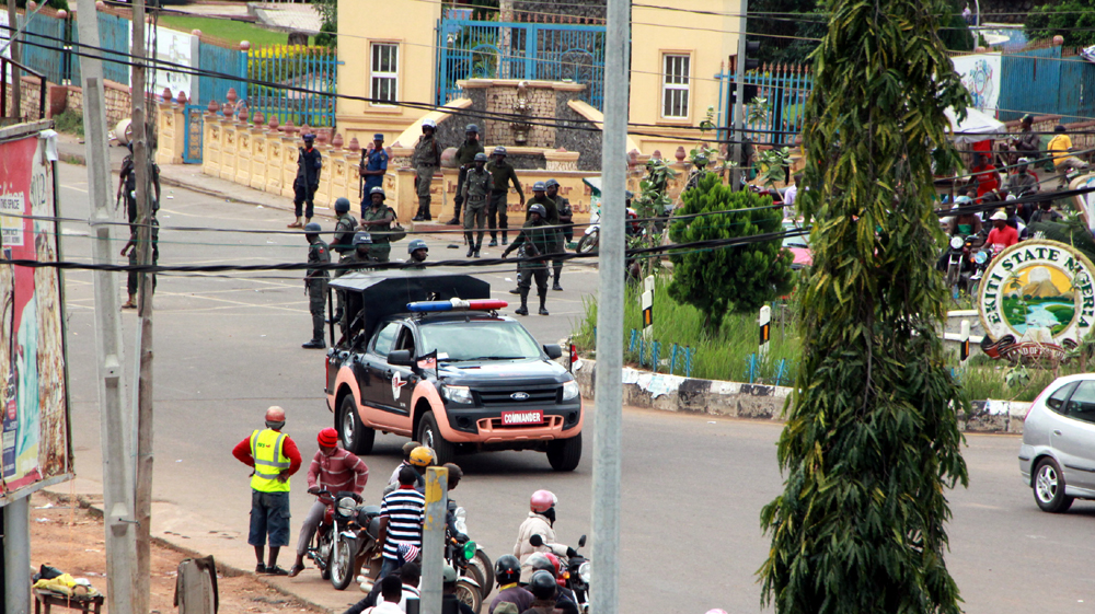 A detachment of Mobile Security men in front of the Federal High Court/Fajuyi Park, Ado-Ekiti... on Thursday