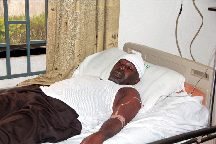 Mr. Niyi Ajakaiye , one of the victims of the attack by suspected PDP thugs in Ado -Ekiti on Monday