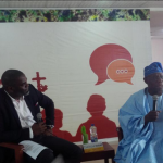 Former President Olusegun Obasanjo answering questions at the Ake Book and Arts Festival in Abeokuta on  Friday... Photo: Courtesy Ake Arts and Books Festiva (via twitter)