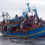 African migrants stranded on a boat comi