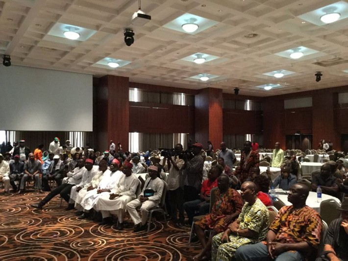 Gov. Rabi'u Musa Kwankwaso of f Kano state and APC Presidential Aspirant addressing delegates from Bayelsa and Akwa Ibom states at the Intercontinental Hotel, Lagos, today, Wednesday. He was accompanied by his deputy, Dr. Abdullahi Umar, Ganduje, APC BOT member, Chief Sam Nkire and former governor of Kogi State, Prince Abubakar Audu. Photo: Govt. House, Kano.