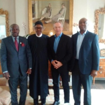 Left to Right: Governor Ibikunle Amosun of Ogun, Muhammadu Buhari, Tony Blair, Senator Bukola Saraki... Photo Credit: Senator Bukola Saraki