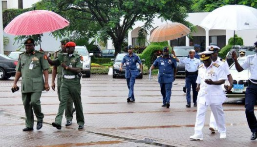 Nigeria Service Chiefs arriving the Aso Rock for a security meeting with the president.