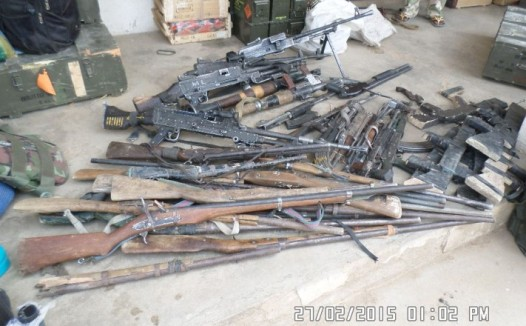 Siezed weapons recovered from fleeing Boo Haram Fighters