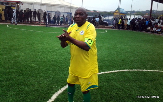 FILE PHOTO: Former President Olusegun Obasanjo exhibiting soccer skills to celebrate 78th birthday