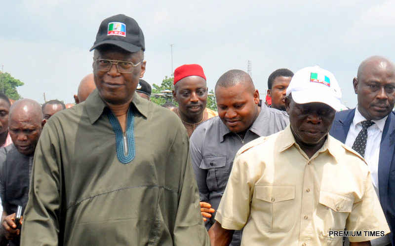 Governor Adams Oshiomhole and former Governor Oserheimen Osunbor during the decamping of the former Governor to the All progressives Congress in Edo State.