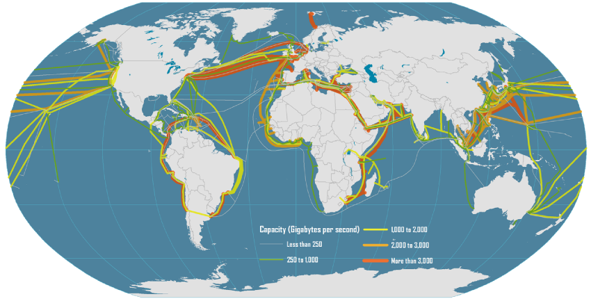 Global Submarin Cable Network. Photo: Dataset encoded by Greg Mahlknecht, http://www.cablemap.info