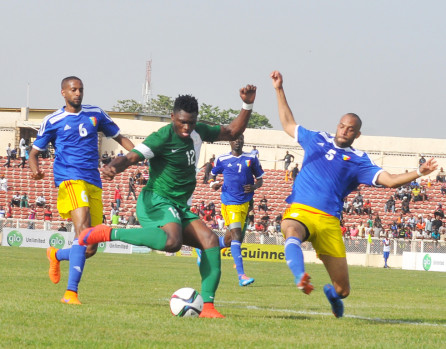 SUPER EAGLES PLAYER OLANARE SAMUEL (M) DISPLAYING DURING  THE FIRST LEG OF AFCON QUALIFIER AGAINST CHAD IN KADUNA  ON SATURDAY (13/6/15) NIGERIA WON 2-0