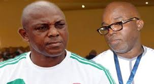 Keshi (left), Amaju Pinnick, NFF President (right)