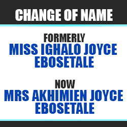 change of name