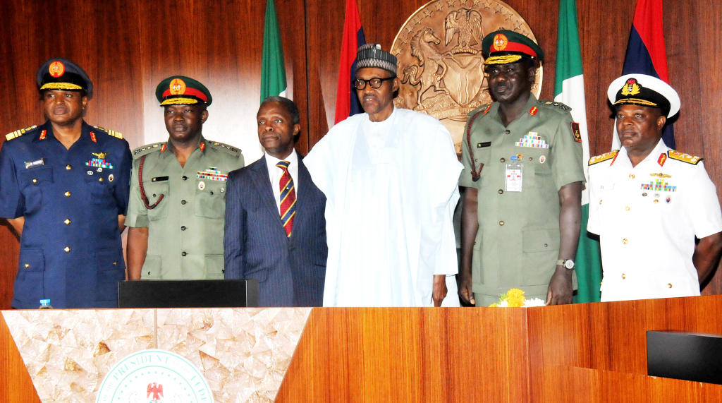 Image result for buhari and his service chiefs