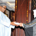 President Muhammadu Buhari (L) Receiving Letters of Credence from the Ambassador-Designate of The King of Saudi Arabia To Nigeria, Mr Fahad Abdullah-Sefyan, at the Presidential Villa in Abuja
