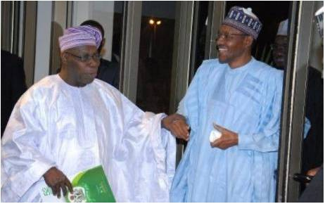 Buhari and Obasanjo in closed door meeting inside Aso Villa
