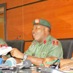 From Left: Chief of Staff, Department of Army Public Relations, Col. Onyema Nwachukwu; Acting Director of Army Public Relations, Col. Sani Usman, and the Staff Officer in the Department, Major Michael Etete, at a News Conference on Update of the Counter-Insurgency Operation, in Abuja