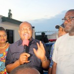 FILE PHOTO: Rivers State Governor, Nyesom Ezenwo Wike (centre), addressing a crowd of his supporters as he arrives Port Harcourt, the state capital immediately after the tribunal ruling, while his deputy, Dr Ipalibo Banigo (left) and Bro. Felex Obuah – State PDP Chairman accompanying him at Omagwa International Airport.