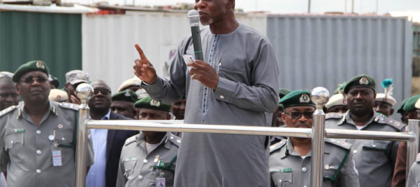 Comptoller-General of Nigeria Customs Service, Hamid Ali, addressing the agency's personnel