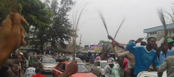 FILE PHOTO: APC supporters celebrating in Uyo, the Akwa Ibom State capital