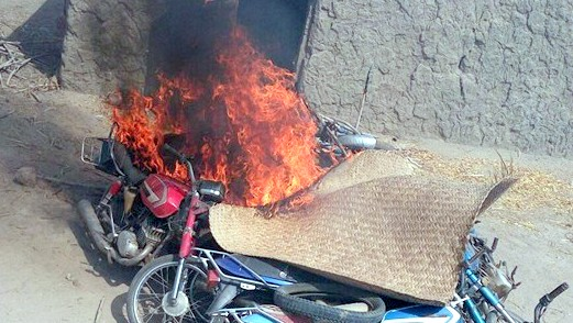 Motorcycles burnt by the Nigerian Army at the Boko Haram camp
