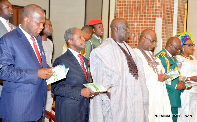 FROM LEFT: SPEAKER, HOUSE OF REPRESENTATIVE, YAKUBU DOGARA; VICE-PRESIDENT YEMI OSINBAJO; SECRETARY TO THE GOVERNMENT OF THE FEDERATION (SGF) MR DAVID LAWAL; PERMANENT SECRETARY, MINISTRY OF DEFENCE, DANJUMA SHENI; CHIEF OF DEFENCE STAFF, GEN GABRIEL OLONISAKIN AND HIS WIFE, OMOBOLANLE, AT THE 2016 ARMED FORCES REMEBRANCE DAY CHURCH SERVICE IN ABUJA