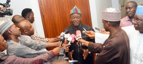 PIC 1 GOV SAMUEL ORTOM OF BENUE STATE BRIEFING STATE HOUSE CORRESPONDENTS AFTER A MEETING WITH PRESIDENT MUHAMMADU BUHARI AT THE PRESIDENTIAL VILLA ABUJA ON TUESDAY (11/1/16) 11/01/2016/ICE/NAN