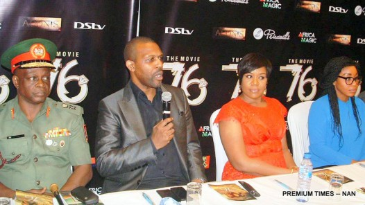 From Left:  Chief of Civil-Military Affairs, Army Headquarters, Maj.-Gen. Rogers Nicholas; Executive Producer, 76 Movie, Tonye Princewill, Regional Director, M-Net West Africa, Wangi Mba-Uzoukwu and Nollywood Actress, Rita Dominic, at a News Conference on the Unveiling of 76 Movie in Lagos