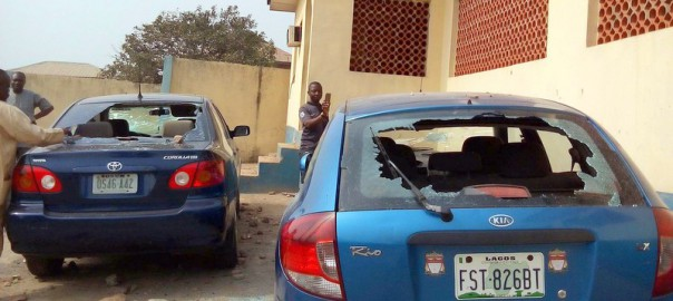 Vandalised Vehicles of Orisun FM Radio, Ile-Ife, By Irate Secondary Students over Mock Exam Results and WAEC Fees in Ile-Ife