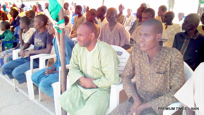 Some of the 275 Detainees Released By The Nigerian Army to the Borno State  Government after Being Cleared of Belonging to the Boko Haram Terrorists Group in  Maiduguri