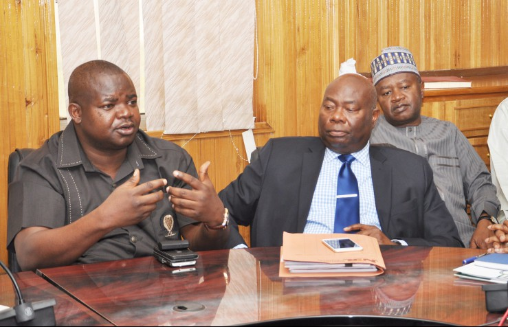 From Left: Managing Director, News Agency of Nigeria (NAN), Mr Ima Niboro; Director-general, Nigerian Television Authority, Dr Sola Omole; Director-general, Federal Radio Corporation of Nigeria, Malam Ladan Salihu; During a Visit of the Presidential Advisory Committee Against Corruption to the Minister of Information and Culture in Abuja on Tuesday (9/2/16).